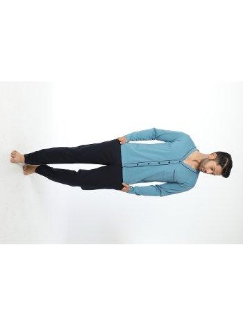 Erkek önü Düğmeli Uzun Kollu Pijama Takım 12035-A Öztaş