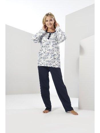 Estiva Kadın Kışlık Penye Büyük Beden Pijama Takımı Lacivert 20314