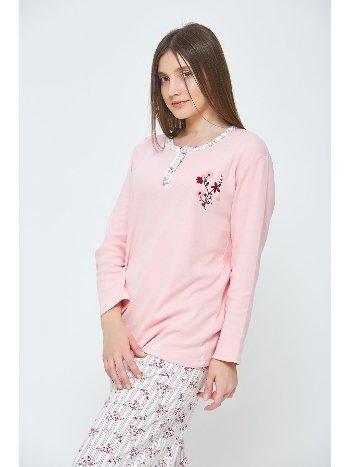 Estiva Kadın Kışlık Penye Büyük Beden Pijama Takımı Pudra 20311