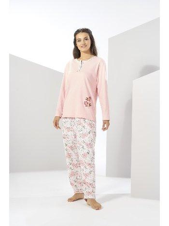 Estiva Kışlık Penye Büyük Beden Pijama Takımı Pudra 20313