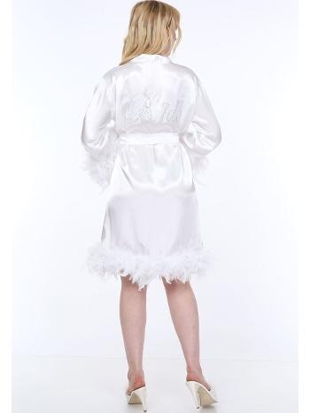 Eteği ve Kolları Tüylü Bride Sabahlık Taç Hediyeli Asimod ASI100.23