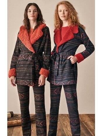 Etnik Desen Polar Yaka Sabahlıklı Pijama Takımı Feyza 3904