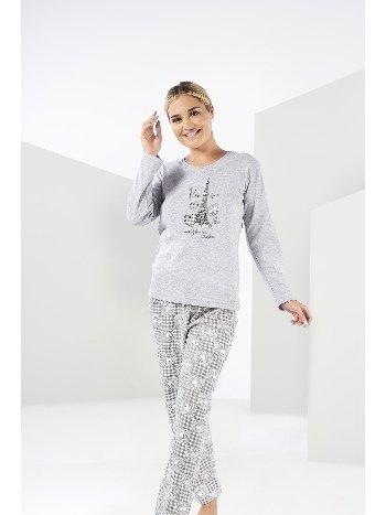Eyfel Gri Kadın Kışlık Penye Pijama Takımı Estiva 20303