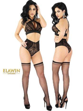 Elawin Fantazi Yüksek Bel Külot Çorap Sütyen Takım 5300