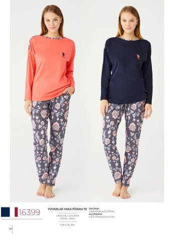 Geniş Yaka Pijama Takım US Polo 16399