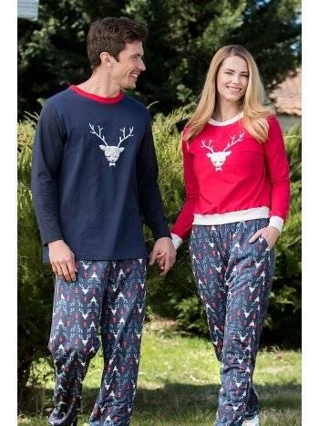 Geyik 2'li Viskon Erkek Pijama Takımı Yeni İnci EPJ726