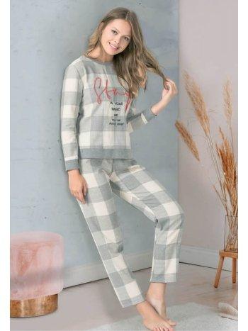 Gri Ekose Desenli Slogan Baskılı Pijama Takımı NBB 67016