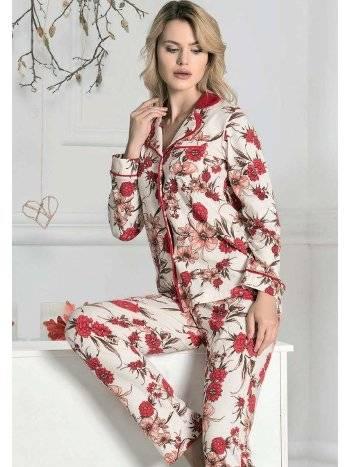 Gül Desenli Düğmeli Kışlık Pijama Takım FLZ 89-469