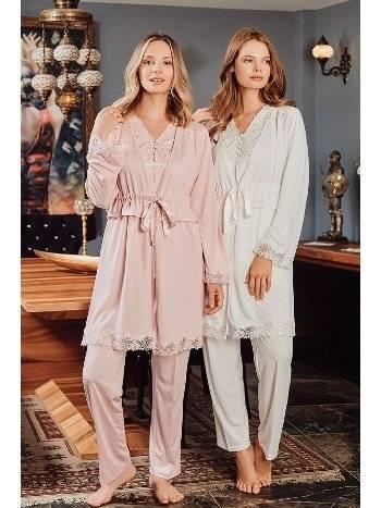 Hamile Lohusa 3 Lü Pijama Sabahlık Takım Bone Club 5104