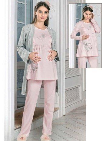 Hamile Lohusa Sabahlıklı 3lü Pijama Takımı FLZ 31-363