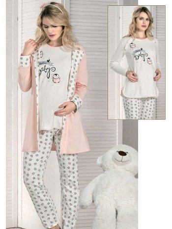Hello Baby 3lü Takım Hamile Pijama Takım FLZ 31-354