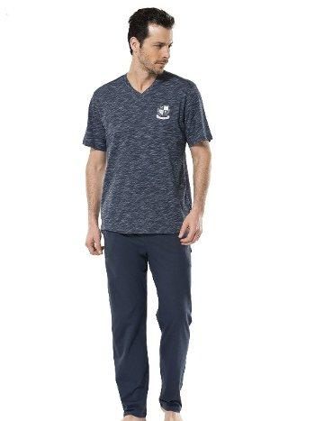 Inkjet V Yaka Kısa Kol Pijama Takım Türen 4120/İNDİGO