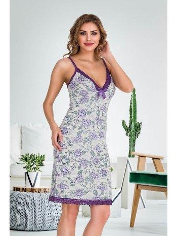 İp Askılı Penye Askılı Çiçekli Gecelik Lady 6251