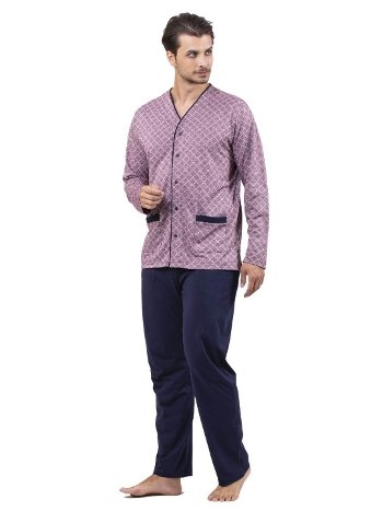 Jakarlı Önden Düğmeli Pijama Takım Çift Kaplan 8721