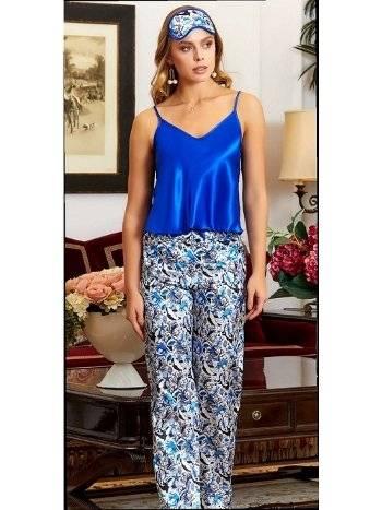 Saks Mavi Askılı Saten Pijama Takım Jeremi 3206