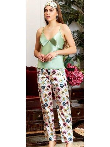 Yeşil Askılı Saten Pijama Takım Jeremi 3209