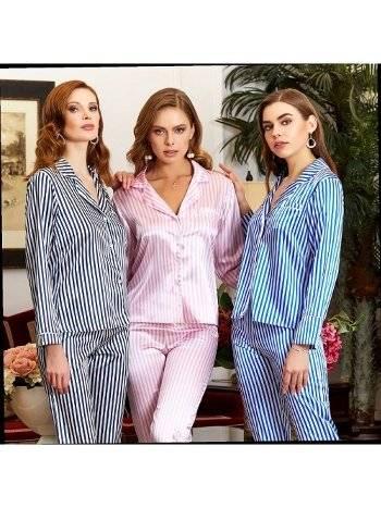 Saten Çizgili 2li Pijama Takımı Jeremi 3029