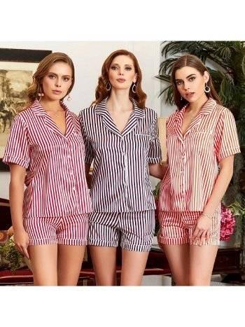 Saten Çizgili Şort Pijama Takım Jeremi 3182