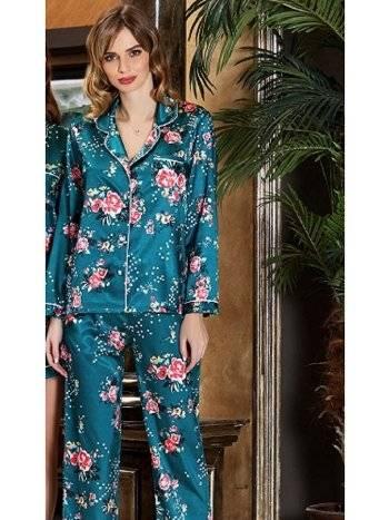 Saten Çiçek Desenli Pijama Takım Jeremi 3190
