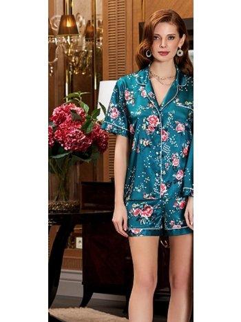 Saten Çiçek Desenli Şortlu Pijama Takım Jeremi 3189