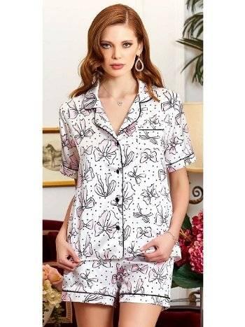 Saten Desenli Şortlu Pijama Takım Jeremi 3231