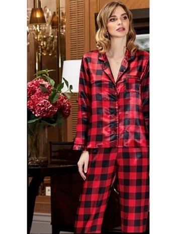 2li Saten Kareli Pijama Takım Jeremi 3183