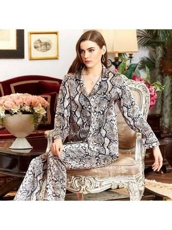 Saten Leopar Desen 2'li Pijama Takım Jeremi 3030