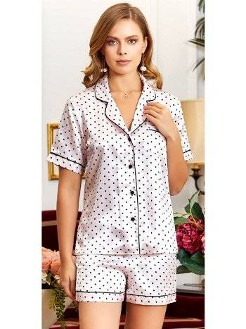 Puantiyeli Saten Şortlu Pijama Takım Jeremi 3197