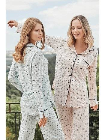 Justine Önden Düğmeli Pijama Takımı Bone Club 5125