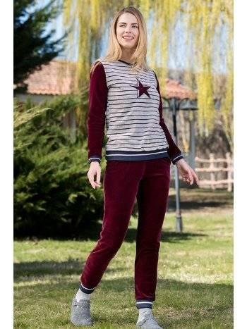 Kadife 2'li Kadın Pijama Takımı Yeni İnci BPJ1660