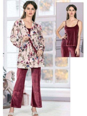 Kadife Asklı Sabahlıklı 3lü Pijama Takımı FLZ 31-361