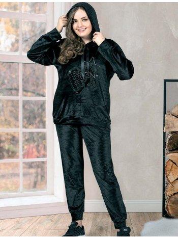 Kadife Kapüşonlu Büyük Beden Pijama Takımı Dowry B09-32