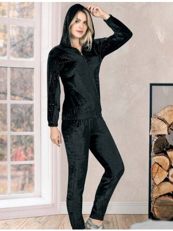 Kadife Kapüşonlu Siyah Pijama Takım Dowry 40-223