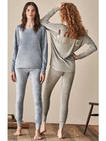 Kadife Love Tayt Pijama Takım Feyza 3936