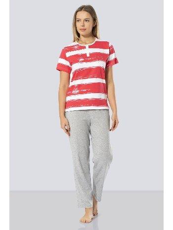 Çizgili Pijama Takımı Türen 639/KIRMIZI