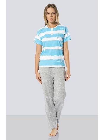 Çizgili Pijama Takımı Türen 639/MAVİ