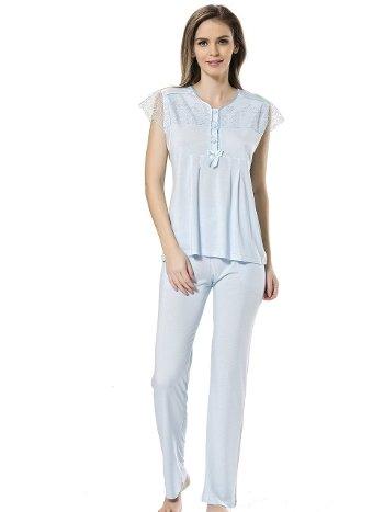Dantelli Pijama Takımı Türen 3218/MAVİ
