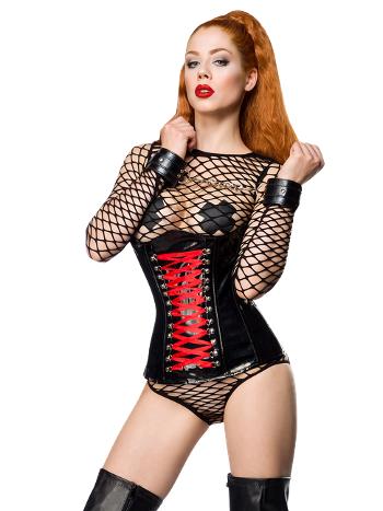 Kadın Deri Korseli Örümcek Fileli Fantazi Kostüm Vip Madame VIP7030