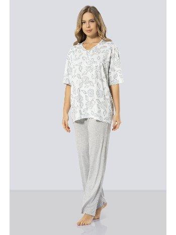 Kısa Kollu Anne Pijama Takım Türen 3321/MAVİ