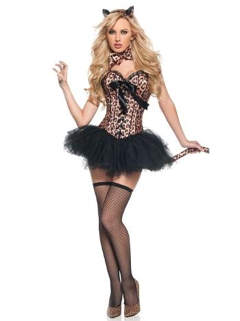 Kadın Leopar Desenli Büstiyer Kostüm Vip Madame VIP7054