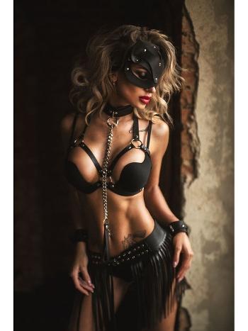 Kadın Pusy Cat Maskeli Deri Kostüm Set Vip Madame VIP9000