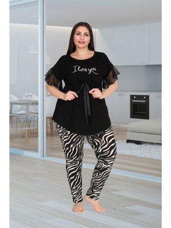 Kadın Siyah Büyük Beden Pijama Takım Lady 10757