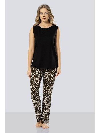 Siyah Leopar Desenli Pijama Takımı Türen 3287