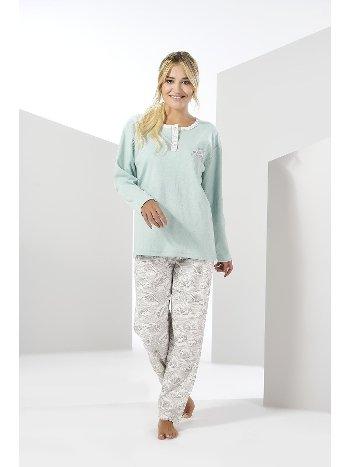 Kadın Uzun Kollu Penye Büyük Beden Pijama Takımı Estiva 20308