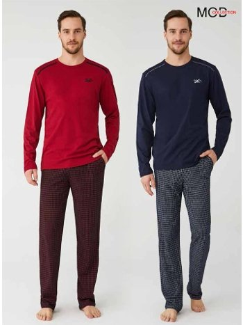 Kareli Pamuklu Erkek Pijama Takım Mod Collection 3329
