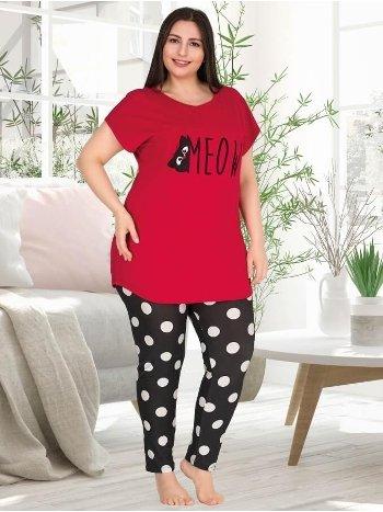 Kırmızı Büyük Beden Kısa Kollu Puantiyeli Pijama Takımı Lady 10760