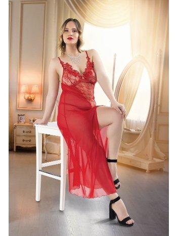 Kırmızı Erotik Fantazi Büyük Beden Uzun Gecelik Real Passione 6215
