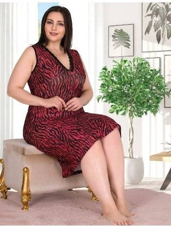 Kırmızı Leopar Desen Kolsuz Büyük Beden Gecelik Lady 8703