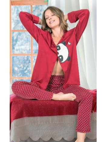 Kırmızı Panda Desen Düğmeli Pijama Takımı NBB 66811