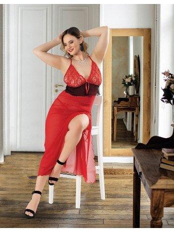 Kırmızı Uzun Erotik Fantazi Büyük Beden Gecelik Real Passione 6213